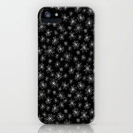 Loopy Flowers - white on black iPhone Case