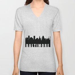 Baltimore Skyline Unisex V-Neck
