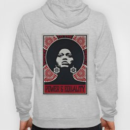 Angela Davis - Power & Equality - Power to the People - Red - African American Vintage Poster Hoody