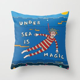 Snorkeling Boy Throw Pillow