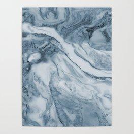 Cipollino Azzurro blue marble Poster