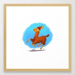 running llama Framed Art Print