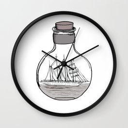 the ship in the bulb . illustration . Wall Clock