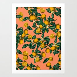 Lemon and Leaf Art Print