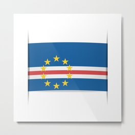 Flag of Cape Verde, officially the Republic of Cabo Verde. The slit in the paper with shadows. Metal Print