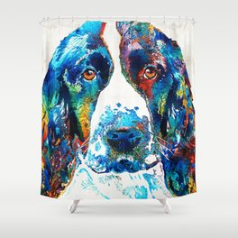 Colorful English Springer Spaniel Dog by Sharon Cummings Shower Curtain