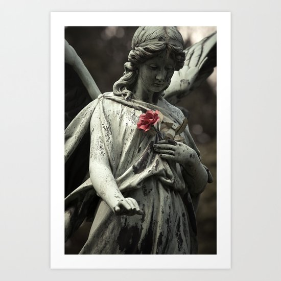 Angel with a rose Art Print