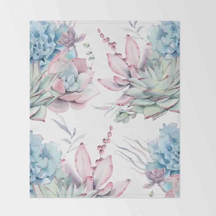 Pretty Pastel Succulents Garden 1 Throw Blanket