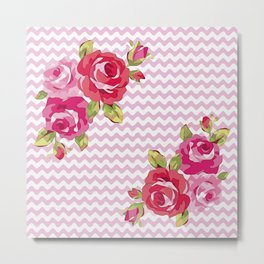Roses on geometric pattern Metal Print