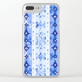 Blue Geometric Scrollwork Clear iPhone Case