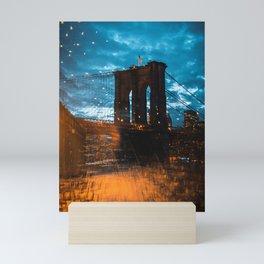 Brooklyn Bridge empty seats Mini Art Print
