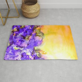 INTO ETERNITY, YELLOW AND LAVENDER PURPLE Colorful Watercolor Painting Abstract Art Floral Landscape Rug