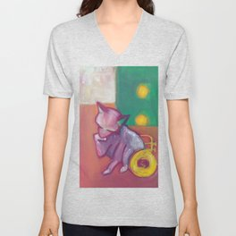 Cat and Trumpet, Edie the Manx, Licking my Paw Unisex V-Neck
