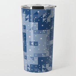 HERITAGE holiday blue quilt white snowflakes Travel Mug