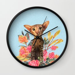 kitty in spring blossom Wall Clock