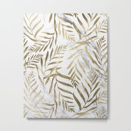 Gold and Marble Leaves Metal Print