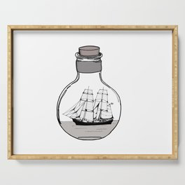 Ship in the Glass Bulb for Home Decor and Apparel Serving Tray