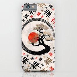 Enso Circle Bonsai Tree on Zen Symbol pattern iPhone Case
