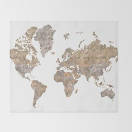 """World map in gray and brown watercolor """"Abey"""" Throw Blanket"""