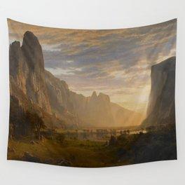 Looking Down Yosemite Valley by Albert Bierstadt Wall Tapestry