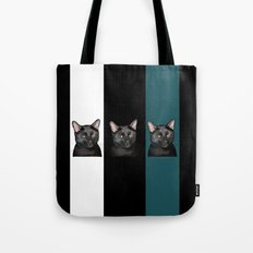 Three Black Cats with a White/Black/Green Background Tote Bag