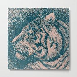 Muted Teal Tiger Metal Print