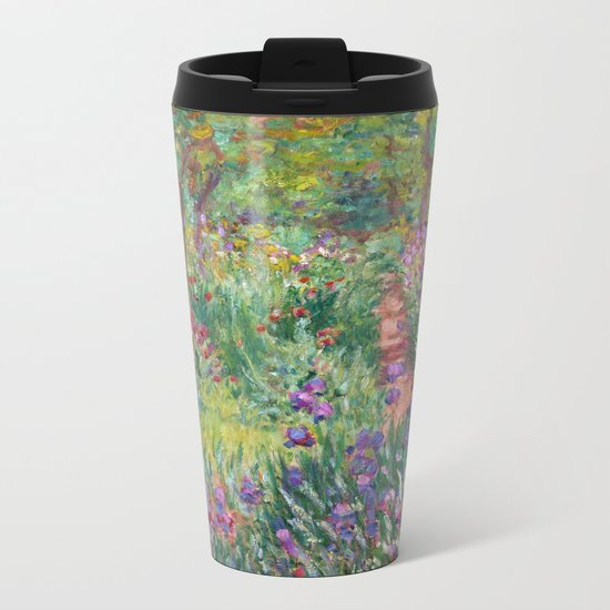 The Iris Garden at Giverny by Claude Monet Metal Travel Mug