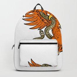 Golden Eagle Grappling Rattlesnake Drawing Backpack