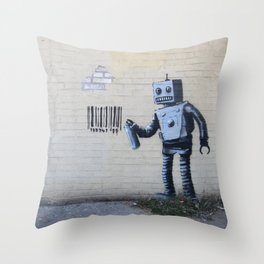 Banksy Robot (Coney Island, NYC) Throw Pillow