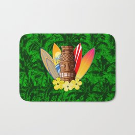 Surfboards And Tiki Mask Palm Trees Bath Mat