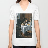 monet V-neck T-shirts featuring The Luncheon - Claude Monet - 1868 by Paulrommer