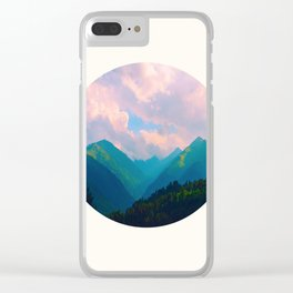 Mid Century Modern Round Circle Photo Graphic Design Colorful Pastel Mountain Landscape Clear iPhone Case