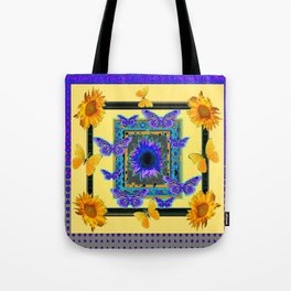 PURPLE BUTTERFLIES SUNFLOWERS MODERN ART Tote Bag
