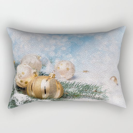 Gold Blue Ornaments Rectangular Pillow