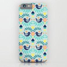 Folky Pattern Light Blue iPhone 6s Slim Case