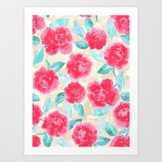 Cottage Peonies Pink Art Print