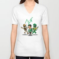 power rangers V-neck T-shirts featuring Power Rangers Legacy: Jason David Frank by HWM Designs