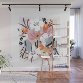 In amongst the fowers boho Heron floral garden print Wall Mural