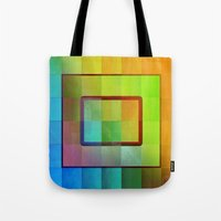 aperture Tote Bags featuring Aperture #3 Vibrant Fractal Pleat Texture Design by CAP Artwork & Design