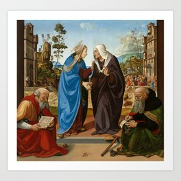 Piero di Cosimo Mary and St. Elisabeth, St. Nicholas and St. Anthony Art Print