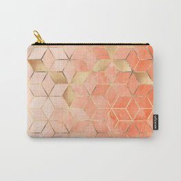 Soft Peach Gradient Cubes Carry-All Pouch