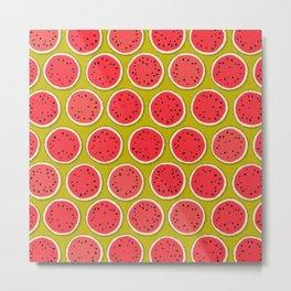 watermelon polka chartreuse Metal Print