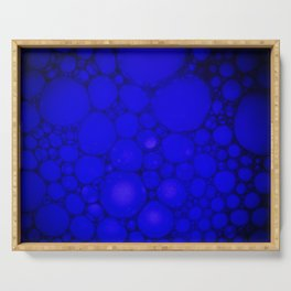 Blue Oil on Water Droplets Abstract Serving Tray