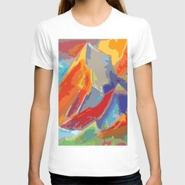 Abstract colorful Mountains at sunset T-shirt