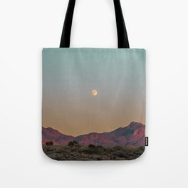 Sunset Moon Ridge // Grainy Red Mountain Range Desert Landscape Photography Yellow Fullmoon Blue Sky Tote Bag
