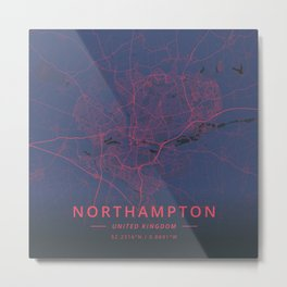 Northampton, United Kingdom - Neon Metal Print