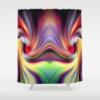 cocaine Shower Curtains featuring Contemplating Rainbows by Heidi Anne Morris