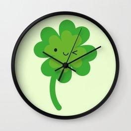 Kawaii Lucky Four Leaf Clover Wall Clock