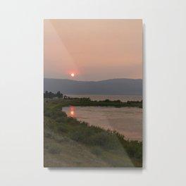 red sun over the lake Metal Print