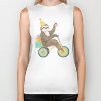 birthday Biker Tanks featuring birthday sloth by Laura Graves
